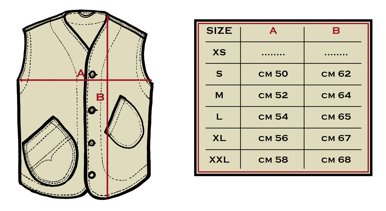 tabella misure vest selvedge denim