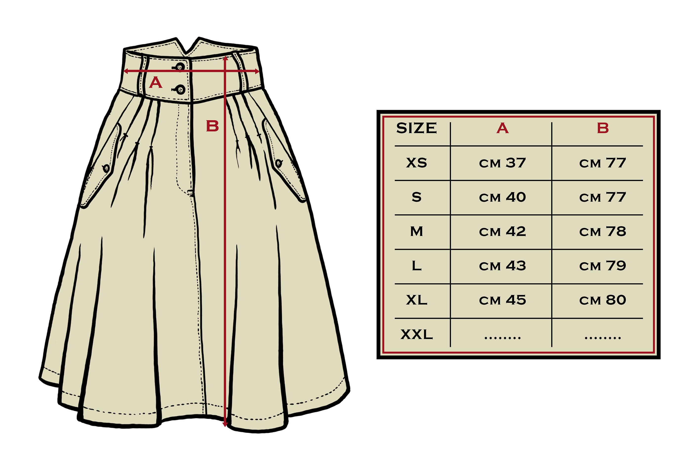 tabella misure skirt white canvas