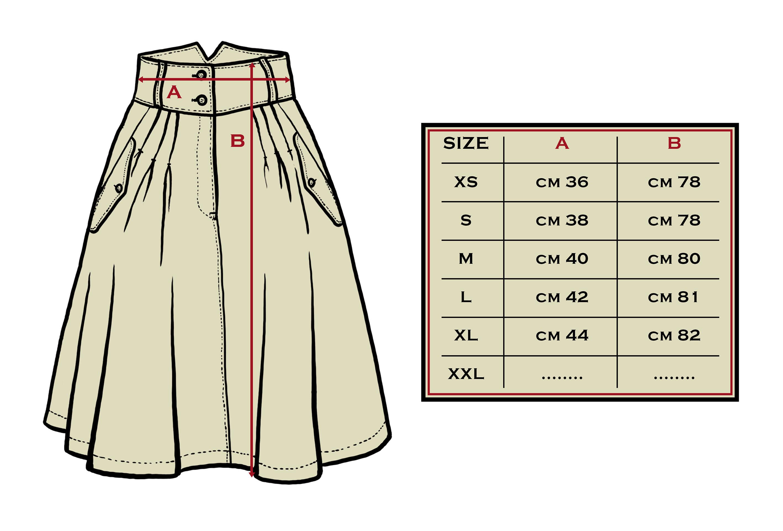 tabella misure skirt massaua kaki