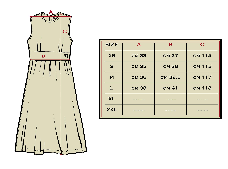 tabella misure dress check women
